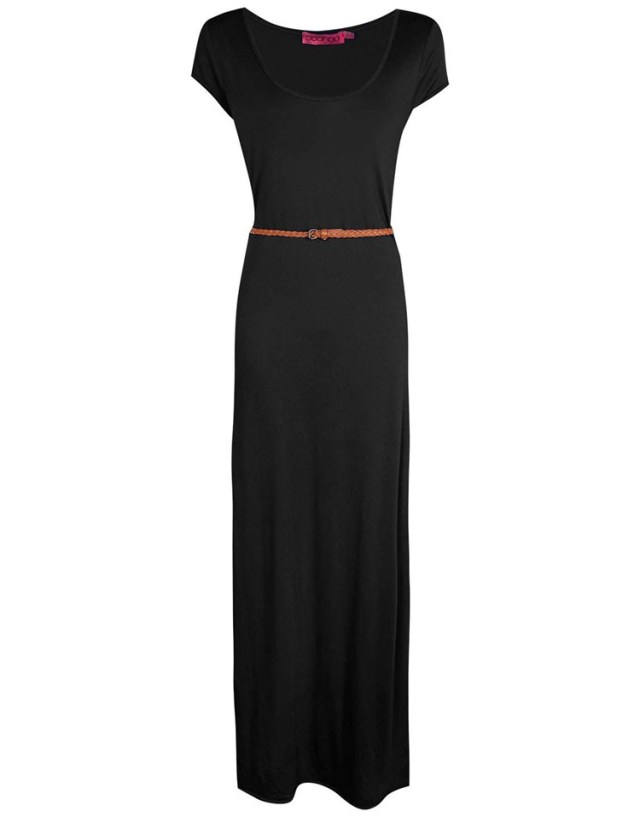 black maxi with belt - maxi dresses