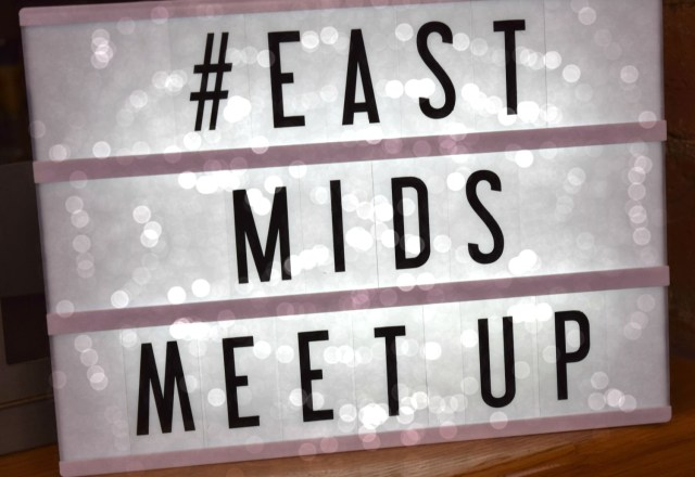 #EastMidsMeetUp - sign - bokah