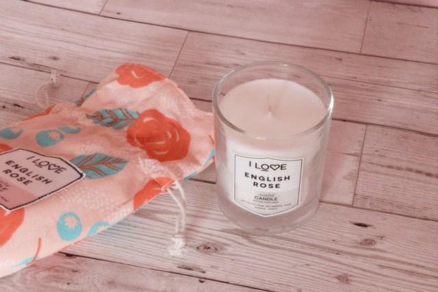 I Love English Rose Candle