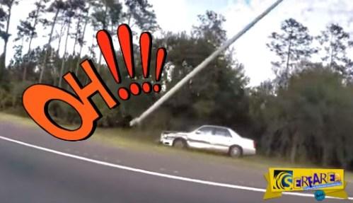 Όλοι νόμιζαν ότι ήταν μεθυσμένος, αλλά έκαναν λάθος – Δείτε την τρελή πορεία αυτού του αυτοκινήτου που ξήλωσε μια κολώνα!