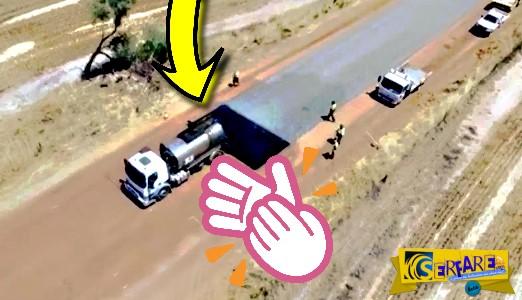 Έτσι φτιάχνουν τους δρόμους οι επαγγελματίες! Δείτε το βίντεο που κάνει θραύση …