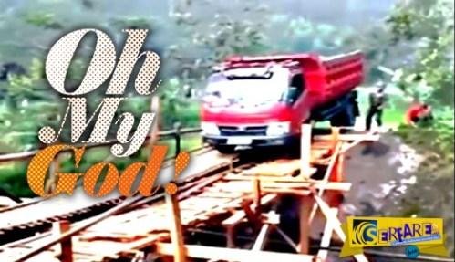 Κατέρρευσε γέφυρα υπό το βάρος φορτηγού – Δείτε τον οδηγό …