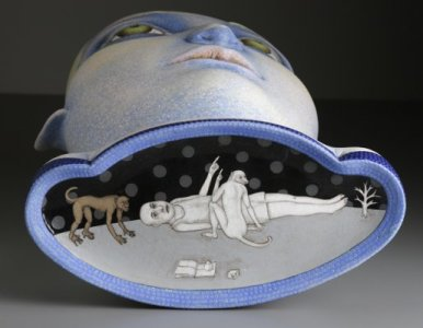 """""""In The Clouds,"""" 2008, stoneware, stain, glaze, 34.5 x 17 x 9""""."""