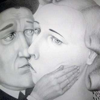 "Sergei Isupov, ""During 19th Century,"" 2009, charcoal on paper, 60 x 46.5""."
