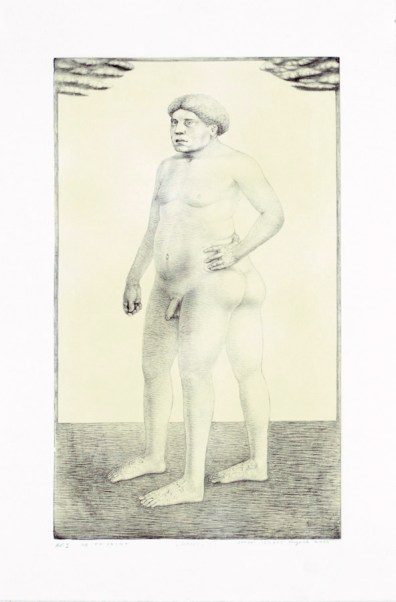 """""""Daddy,"""" 2003, intaglio and siligraphy, image: 24 x 14"""", paper: 30 x 19""""."""