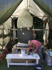 "Sergei Isupov, ""Fire Sculpture"" 2017, glazing the form. Photo courtesy Alice Fourgeret."