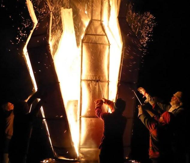 "Sergei Isupov, ""Fire Sculpture"" 2017, starting to open the kiln during the firing. Photo courtesy Pricilla Mouritzen."