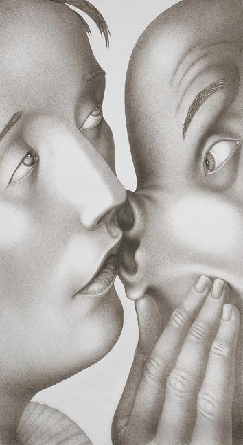 """""""Learn,"""" 2006, gouache on paper, 94 x 52""""."""