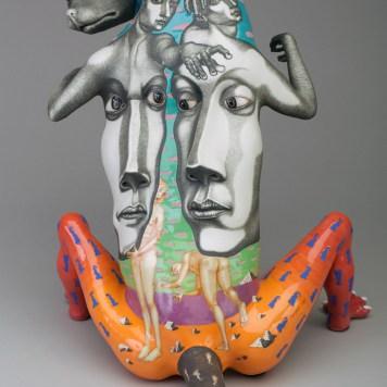 """""""Balanced Moment,"""" 1998, porcelain, glaze, stain, 14 x 12 x 14"""". Racine Art Museum, Racine, WI."""