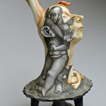 """""""Never the Same,"""" 1997, porcelain, glaze, stain, 16 x 8.5 x 11.5"""". Collection of Racine Art Museum, Racine, WI."""