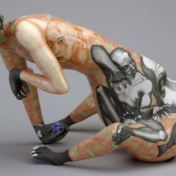 """Protection,"" 1999, porcelain, 10.5 x 16 x 13"". Racine Art Museum, Racine, WI."