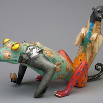 """Symbol,"" 1999, porcelain, glaze, stain, 12.5 x 8.5 x 19"". Collection of Racine Art Museum, Racine, WI."