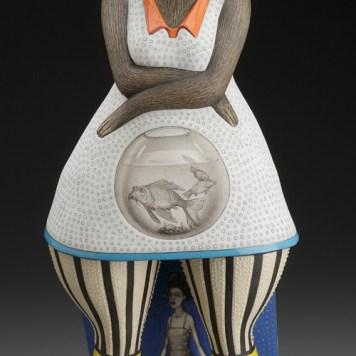 """Two Fish,"" 2011, porcelain, 16 x 7 x 6"". Racine Art Museum, Racine, WI."