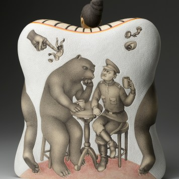 """Dangerous Friendship,"" 2012, porcelain, slip, glaze, 18.5 x 16.5 x 8""."