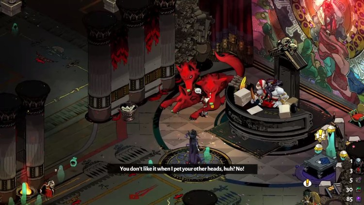 A picture of Zagreus petting Cerberos to show the player that they can pet the dog.