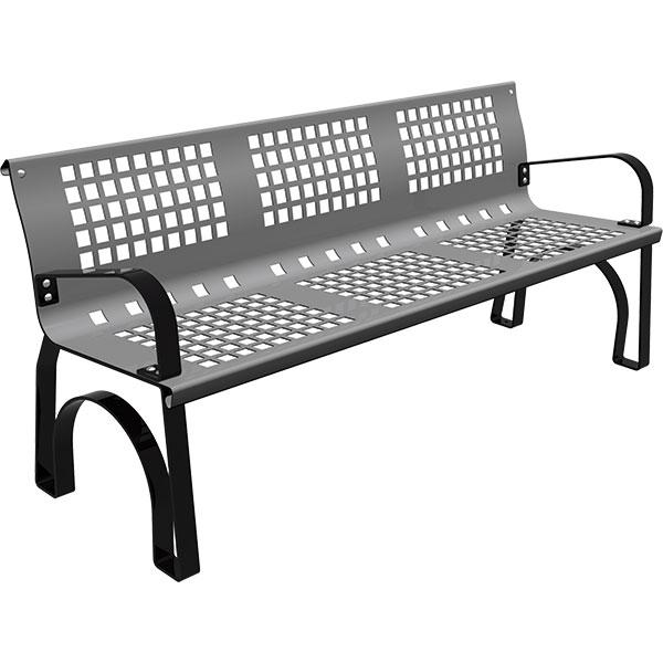 banco metalico modelo sergin de 1,80m color gris para calles,jardines y parques
