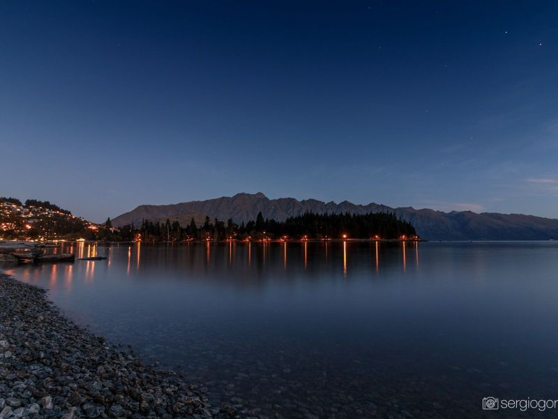 queenstown lights night lake reflection