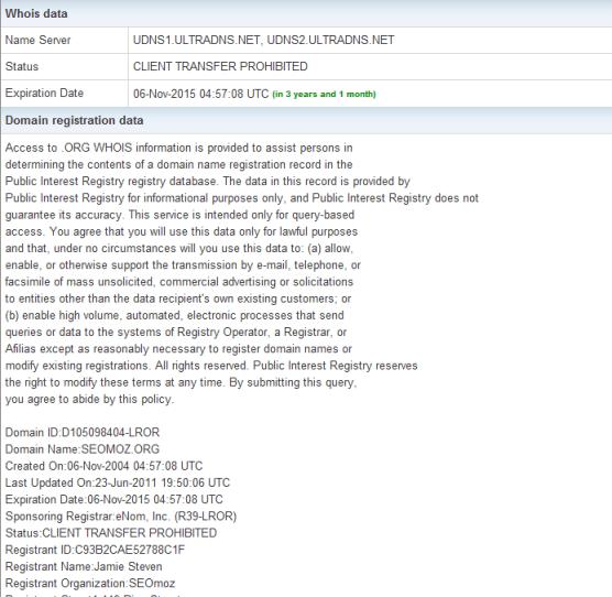 Herramientas SEO: Site Information Tool Whois dominio