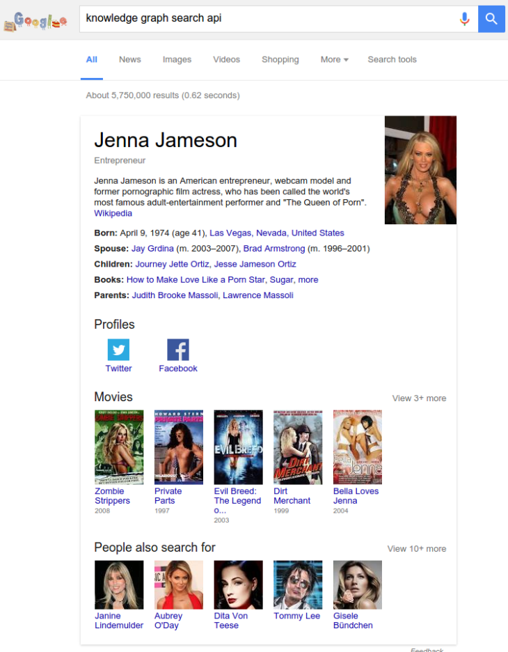 Jenna Jameson Knowledge Graph Search API