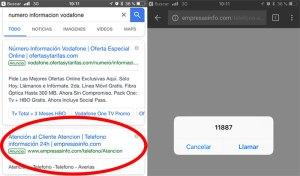 Teléfono de información 11887 en Google