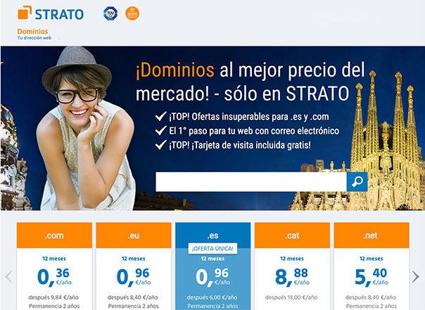 Strato tiene dominios .com, .es y .eu muy baratos
