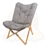 Padded Folding Armchair Lounge Tinged With Grey Bamboo Frame 75x43xh100cm Up To 120kg Holiday Travel