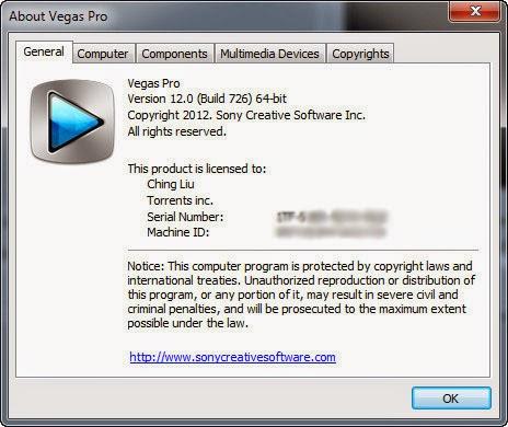 Sony Vegas Pro 11-12 serial number