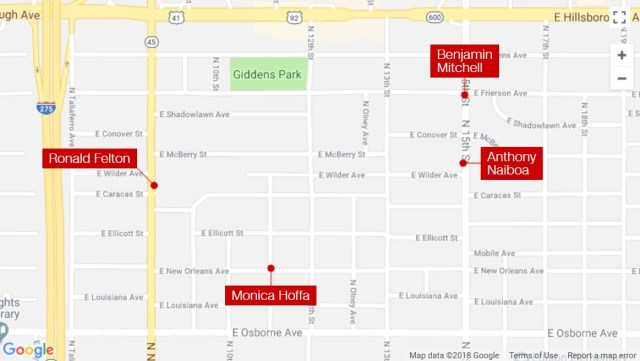 Tampa serial killer murder map