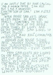 Son Of Sam Letter page 1