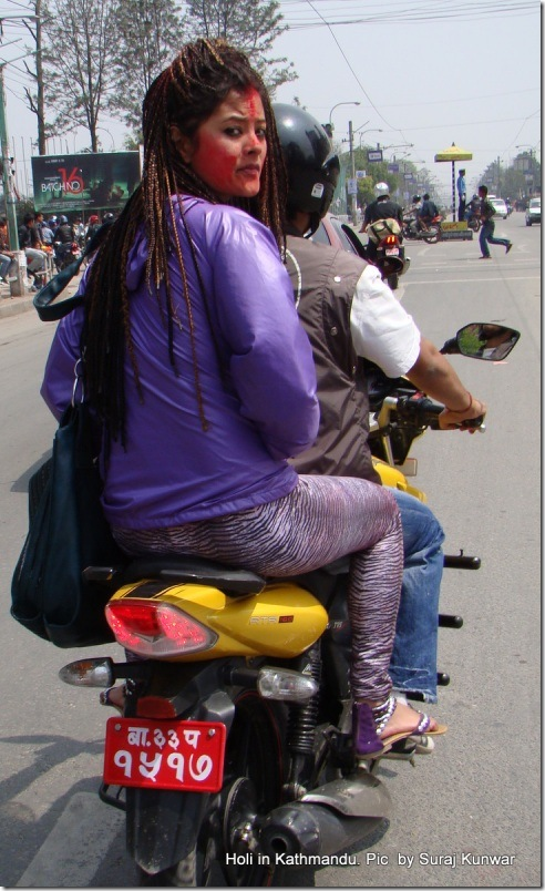 Sushma Karki in scooter - on way to Karishma Manandhar house - holi