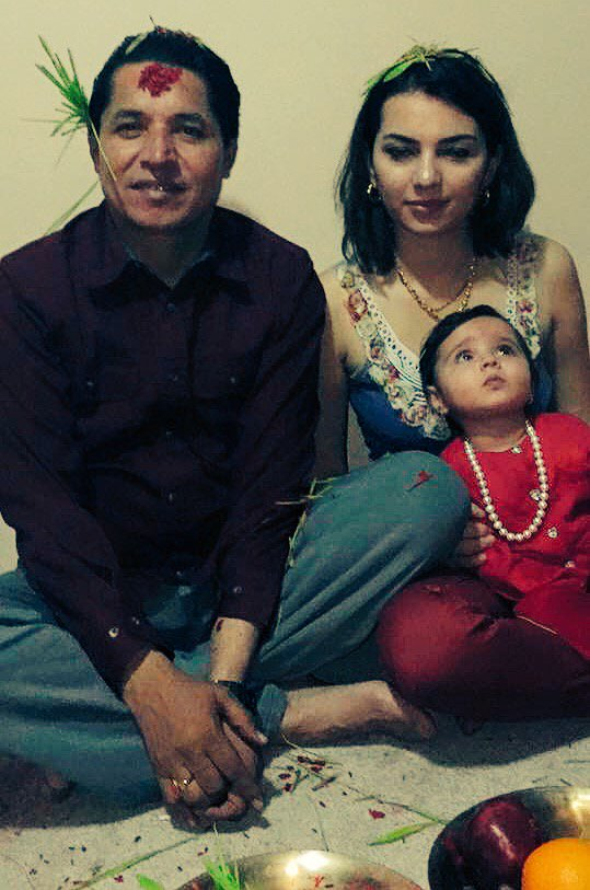 rishi dhamala aliza dhamala and daughter dashain 2015