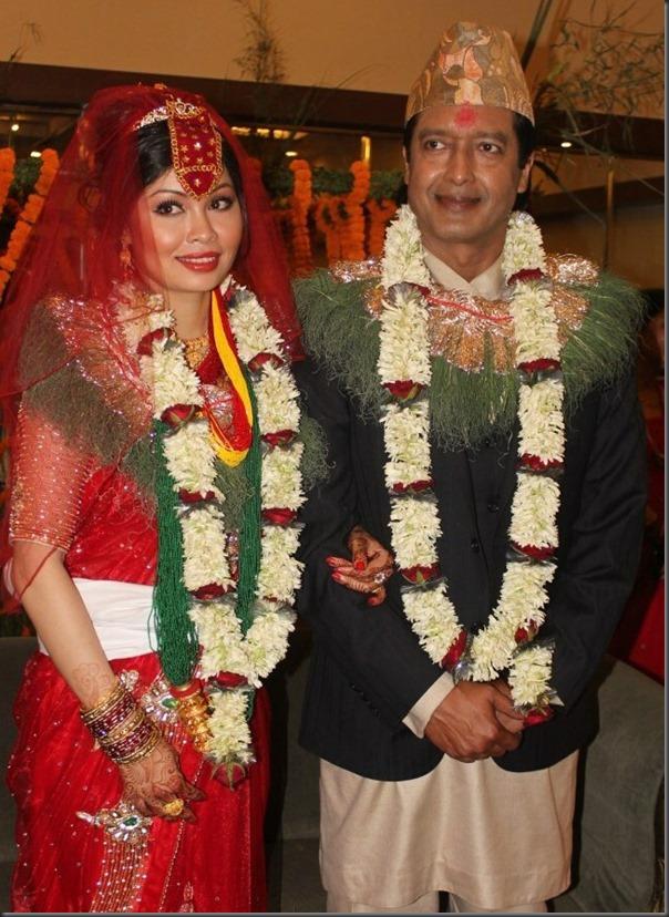 rajesh hamal and madhu bhattarai after marriage similing couple