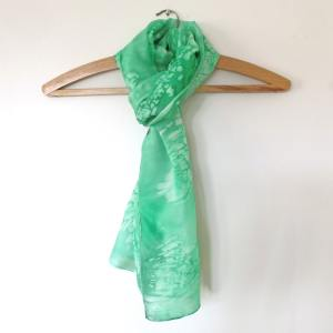 Hand painted green silk scarf