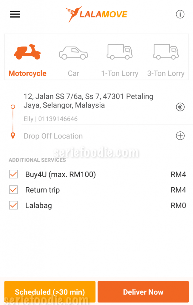 Motorbike Delivery Fees