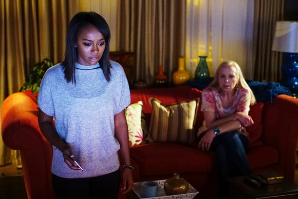 """HOW TO GET AWAY WITH MURDER - """"Is Someone Really Dead?"""" - A revelation in the Wallace Mahoney murder rattles Annalise and the Keating 5, as the team takes on the case of a veteran facing assault charges, on """"How to Get Away with Murder,"""" THURSDAY, OCTOBER 27 (10:00-11:00 p.m. EDT), on the ABC Television Network. (ABC/Richard Cartwright) AJA NAOMI KING, BRETT BUTLER"""