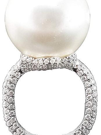 Adastra Jewelry - Anillo de plata de ley 925 con perlas de 0.709