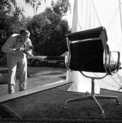 Eames photographing the soft pad chair