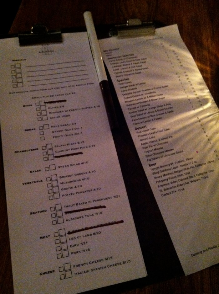 The two menus, side by side, at Navarre. All ready to be filled out.