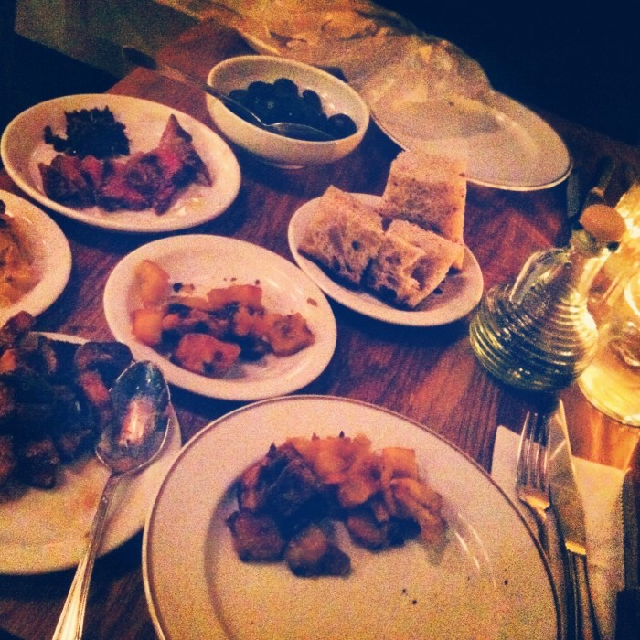 Lots of little plates for dinenr at Navarre, including steak, squash, kohlrabi, mushrooms, bread...