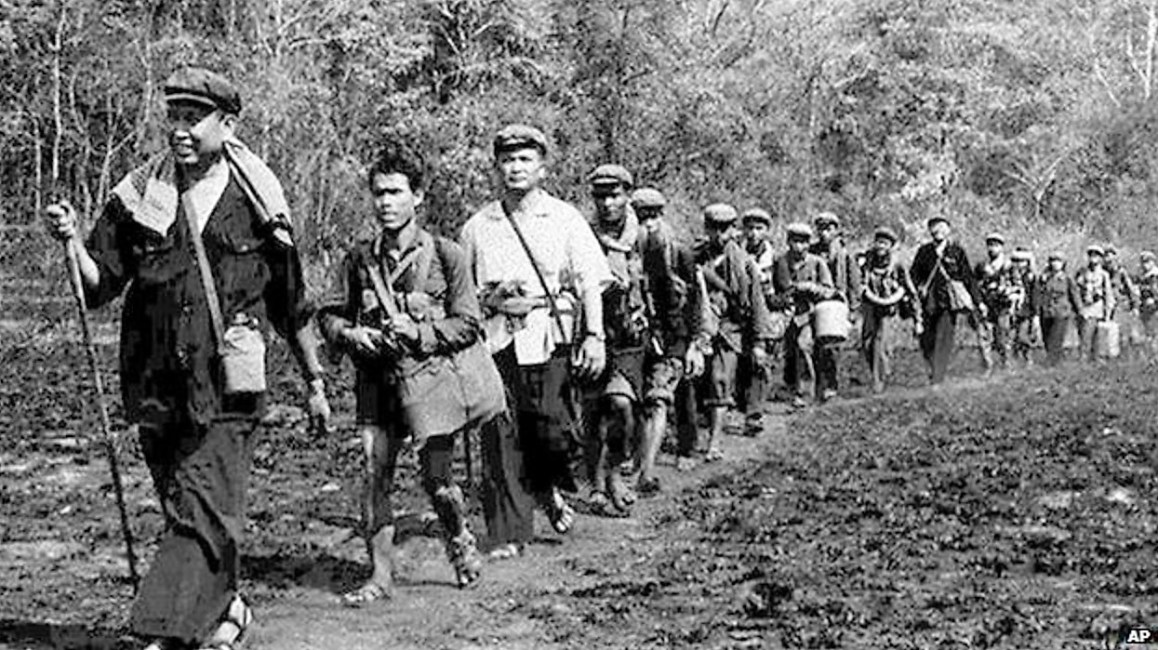 Propaganda photo of Pol Pot and the Khymer Rouge in the jungles of Ratnakiri Province