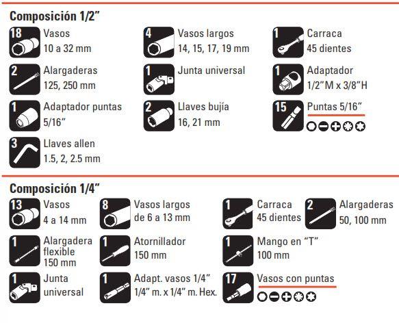 """Bandeja Juego de 94 Llaves de Vaso de 1/2""""+ 1/4"""" composicion"""