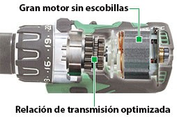Taladro Combinado a Batería de Litio DV18DBL2 motor sin escobillas
