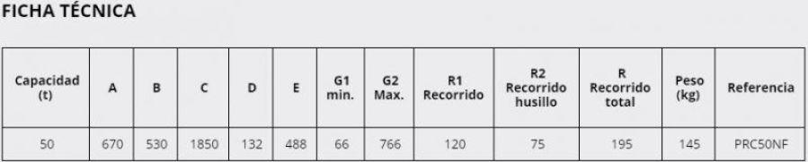 Prensa de Taller PRC50NF Ficha tecnica