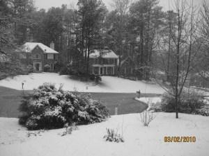 Cul-du-sac neighbors under snow