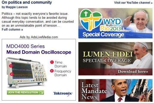 Catholic News Service website에 '출현'한 Oscilloscope광고