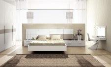 Dormitorio en beige y blanco