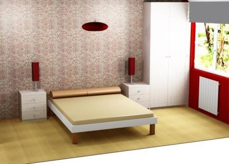proyecto dormitorio tonos rojos