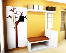 Proyecto bancada, baldas, perchero y papel pintado recibidor luminoso tonos naranjas