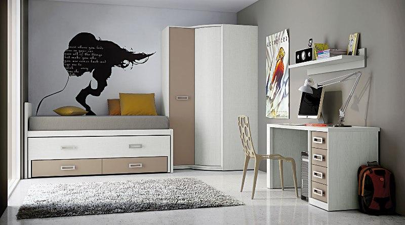 juvenil dormitorio nido con cajones armario en esquina en beige