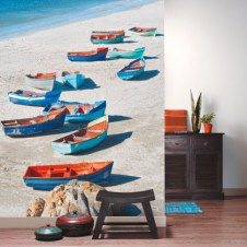 Fotomural papel pintado escena marinera barcas mar